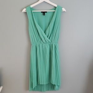 Sexy V Neck High Low Pleated Dress
